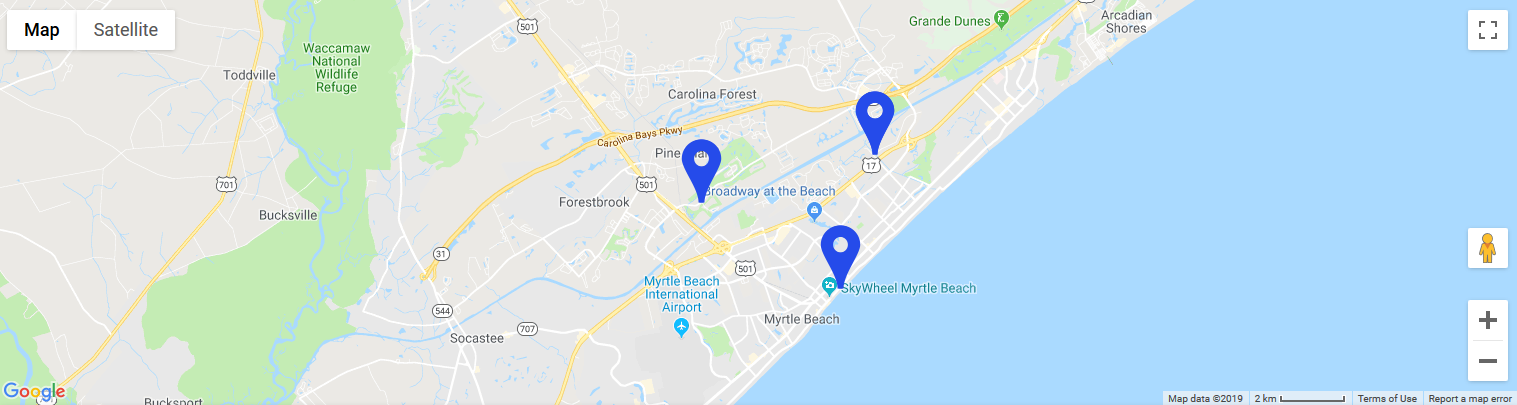 Myrtle Beach Vacation Rentals Map Image